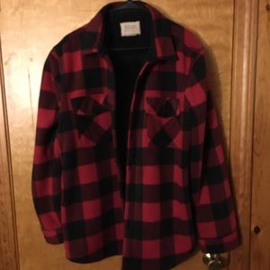 Red and Black Fleece Lined Flannel Jacket